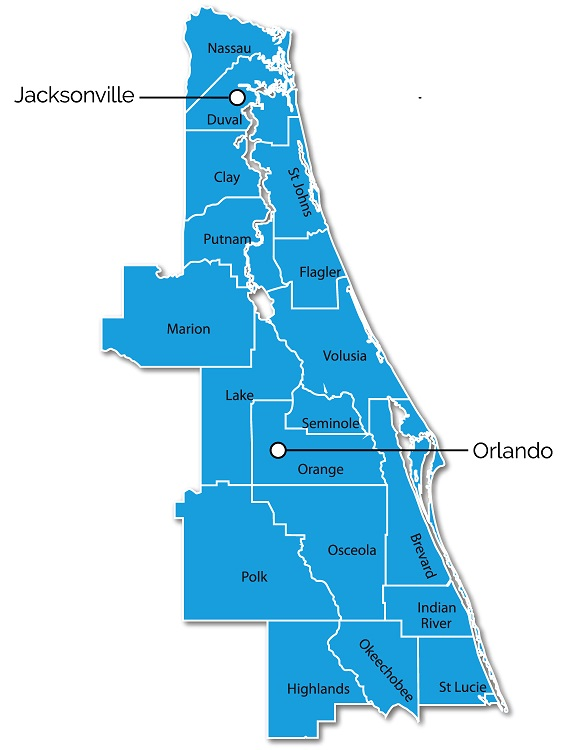 Map of Eastern Florida