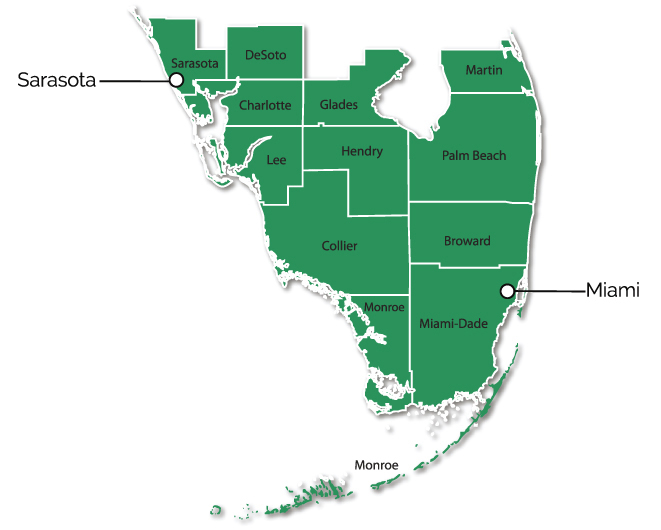 Map of Southern Florida